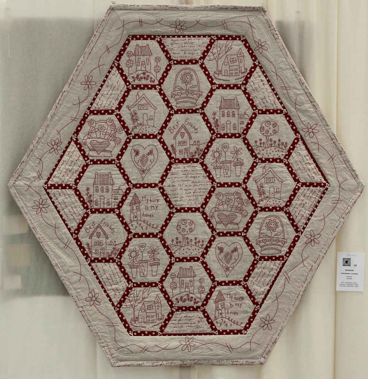 20    n°  59    72    Lutgarde Verkinderen, Limburg, Redwork, 135 cm x 135 cm